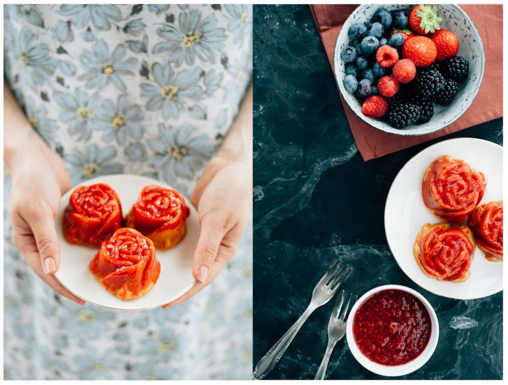 Foodfotografie collage rozen cakejes met framboos